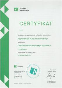 ślad węglowy certyfikat 1
